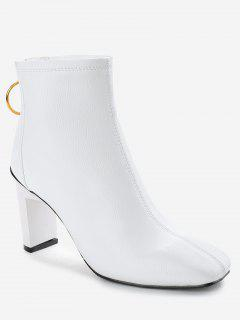 Square Toe High Heel Short Boots - White 36