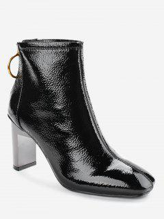Back Zip Patent Leather Short Boots - Black 36