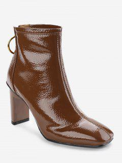 Back Zip Patent Leather Short Boots - Brown 36