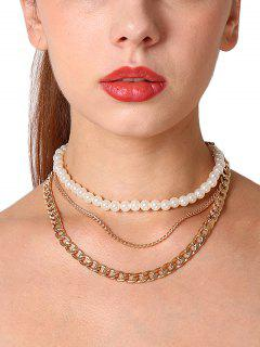 Faux Pearl Layered Chains Necklace - Golden