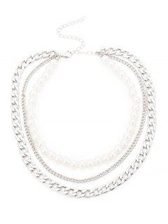 Faux Pearl Layered Chains Necklace - Silver