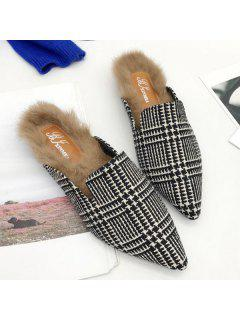 Houndstooth Plaid Pattern Pointed Toe Flats - Black White 39