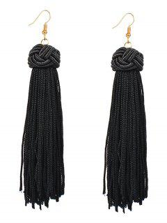 Retro Hand Woven Tassel Drop Earrings - Black