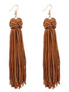 Retro Hand Woven Tassel Drop Earrings - Coffee