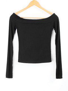 Knitted Off Shoulder Top - Black S