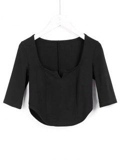Cropped Siit Collar Top - Black S