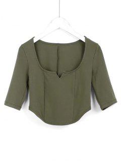 Cropped Siit Collar Top - Army Green S