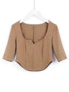 Cropped Siit Collar Top - Light Brown S