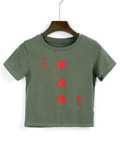 Cotton Heart Cropped T Shirt - Army Green M