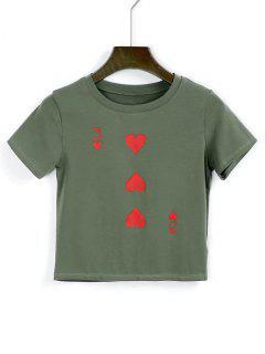 T-shirt  Court En Cotton Imprimé De Coeurs - Vert Armée  M