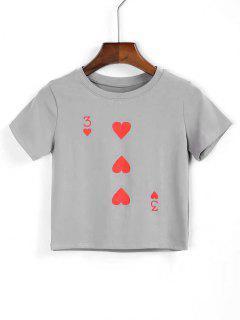 T-shirt  Court En Cotton Imprimé De Coeurs - Gris S
