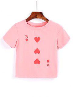 Cotton Heart Cropped T Shirt - Pink M