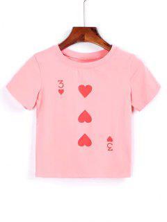 T-shirt  Court En Cotton Imprimé De Coeurs - Rose  S