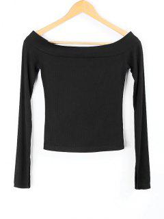 Knitted Off Shoulder Top - Black M
