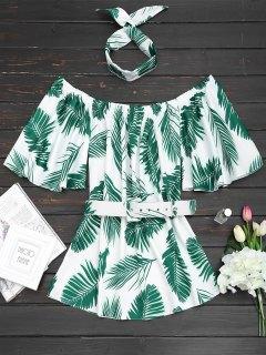 Off Shoulder Leaves Print Choker Belted Dress - Green L