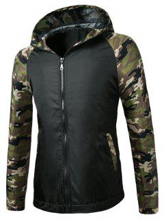 Zip Up Raglan Sleeve Camo Hooded Lightweight Jacket - Black S
