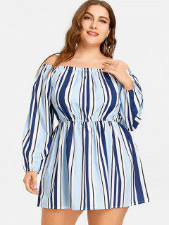 Striped Off The Shoulder Plus Size Dress - Stripe 2xl
