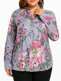 Blusa Plisada Con Estampado De Flores De Talla Grande - Gris 5xl