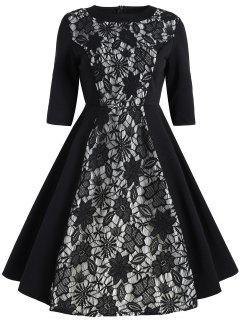 Robe à Empiècements En Dentelle Florale Vintage - Noir 2xl