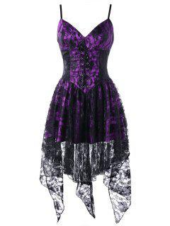 Vestido De Corsé Con Cuello De Encaje - Negro+púrpura 2xl