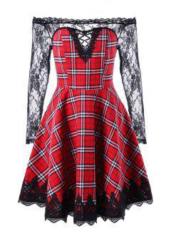 Vestido Entallado A Cuadros Y Llamarada - Rojo Con Negro 2xl