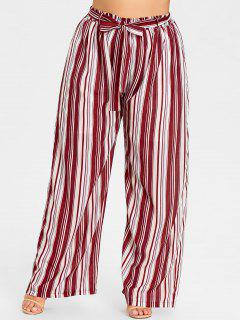 Plus Size Striped Wide Leg Pants - Red Stripes Xl