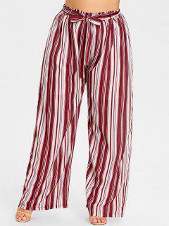 Pantalones De Pierna Ancha A Rayas De Talla Grande - Raya Roja 2xl
