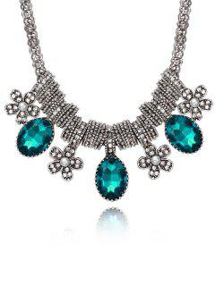Inlay Rhinestone Floral Pendant Necklace - Blue