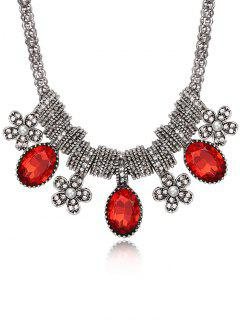 Inlay Rhinestone Floral Pendentif Collier - Rouge