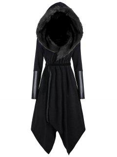 Plus Size Faux Fur Insert Hooded Asymmetric Coat - Black 5xl