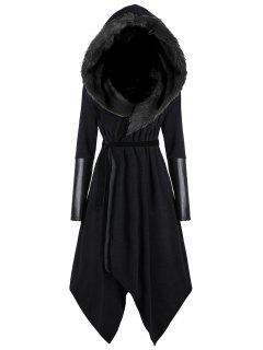 Abrigo Asimétrico Con Capucha De Piel De Imitación De Tamaño Extra Grande - Negro Xl