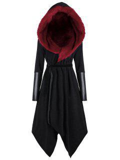 Plus Size Faux Fur Insert Hooded Asymmetric Coat - Black&red Xl