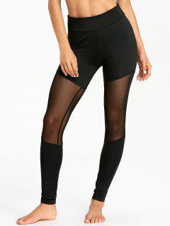 Sheer Mesh Panel Sports Tights - Black L