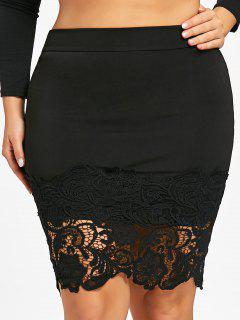 Plus Size Lace Hem Bodycon Skirt - Black 3xl