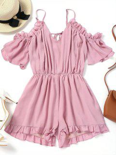 Frilled Cold Shoulder Romper - Pink L