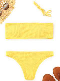 Ribbed Texture Bandeau Bikini Set - Yellow S