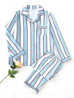 Striped Pajama Set - Blue And White L