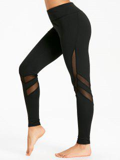 High Waist Mesh Insert Workout Leggings - Black S