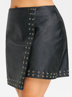 Studded Plus Size Faux Leather Skirt - Black 4xl