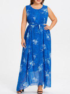 Robe En Mousseline De Soie Longue Et Grande Taille - Bleu 6xl
