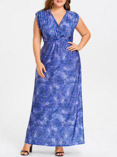 Robe Cache-coeur Longue Imprimée Plume Grande Taille  - Bleu 6xl