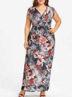 Floral Plus Size Maxi V Neck Dress - Floral 6xl