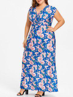Robe Maxi à Col En V Et Fleurs - Bleu 6xl