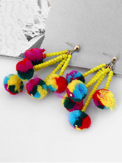 Boucles d'Oreilles Pendantes Motif Chaîne de Perles avec Pompons et Boules Pelucheuses - Multicolore  Mobile