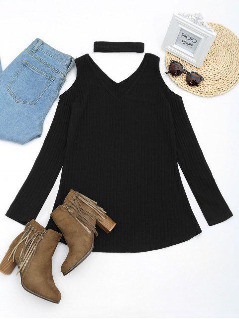 Mini vestido de punto de hombro frío con gargantilla - Negro XL Mobile