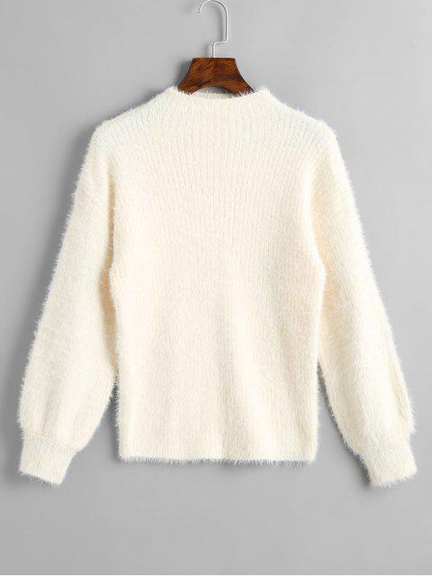best Slash Neck Plain Sweater - OFF-WHITE ONE SIZE Mobile