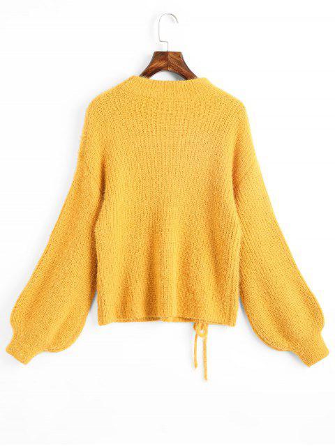 online Lantern Sleeve Lace Up Keyhole Sweater - YELLOW ONE SIZE Mobile