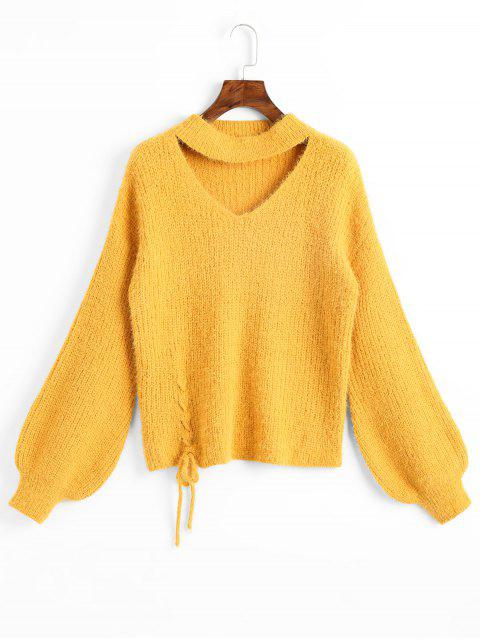 online Lantern Sleeve Lace Up Keyhole Sweater - YELLOW ONE SIZE Mobile