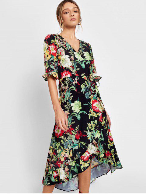 ladies Flower Asymmetrical Wrap Maxi Dress - FLORAL L Mobile