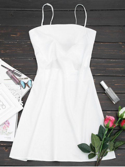 unique Tied Bowknot Back Mni Cami Dress - WHITE L Mobile